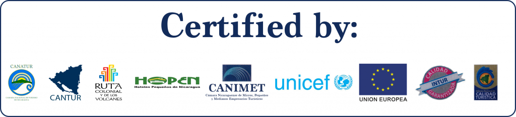 Certified by Cantur, Ruta and Government agencies of Nicaragua